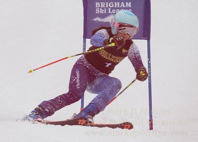 Elise Namnoum of Ethel Walker School races during the Brigham Ski League GS Championship at Ski Sundown on February 17, 2016