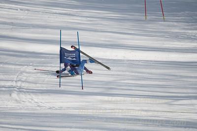 Nancy Gfeller of Ethel Walker School Ski crashes at Sudown Ski area on Wednesday, February 8, 2017, for the Brigham Ski League GS Championships.