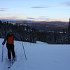 Skinning up Lost Trail for one more run before sunset.