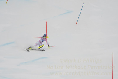BernadetteSchild of Austria hits a gate on her way to a third place finish in the first run of the Slalom at the FIS Ski World Cup at Killington.