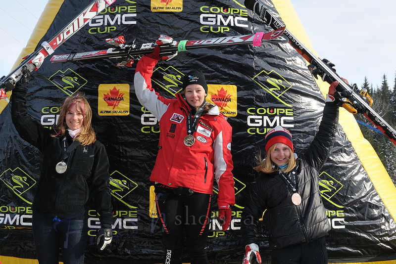 Podium - J1 Women's<br /> Coupe GMC Cup giant slalom<br /> Feb 25 2011, Red Mountain, Rossland