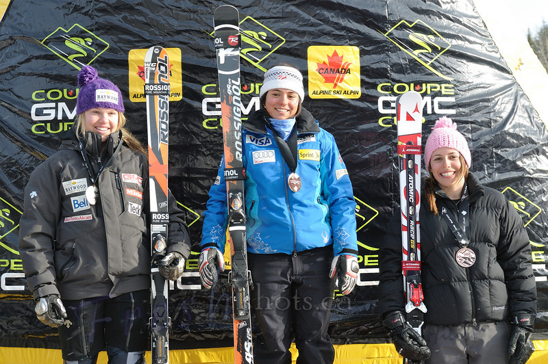 Podium - Women's overall<br /> Coupe GMC Cup giant slalom<br /> Feb 26 2011, Red Mountain, Rossland