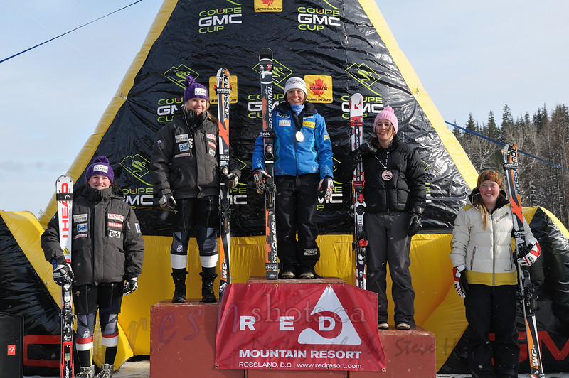 Top 5 - Women's overall<br /> Coupe GMC Cup giant slalom<br /> Feb 26 2011, Red Mountain, Rossland