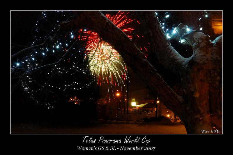 """""""Light Up Invermere"""" fireworks display, from inside Strands restaurant"""