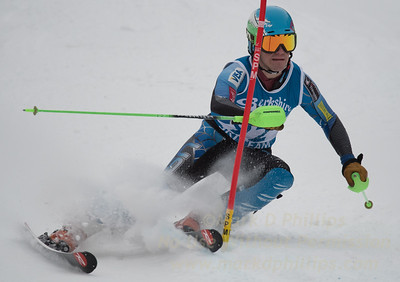 Zach Mooney races at Berkshire East in the U19 Slalom Schaefer Cup