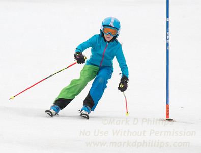 Maggie Stevens foreruns at U19 race at Blandford Ski Area on February 25, 2017
