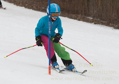 Emma Stevens foreruns during U19 race at Blandford Ski Area on February 25, 2017