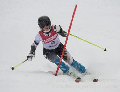 Emilie Brush races during U19 Slalom Race at Bousquet Ski Area on Sunday, February 12, 2017