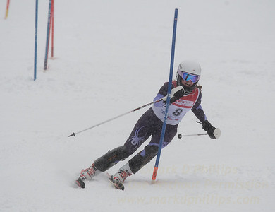 Micaela Bartlett races during U19 Slalom Race at Bousquet Ski Area on Sunday, February 12, 2017