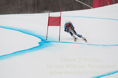Grace O'Connell skis to a thrid place finish on the Super G course on Echo Trail at at the U19/21 Eastern USSA Finals held at Gore Mountain, NY