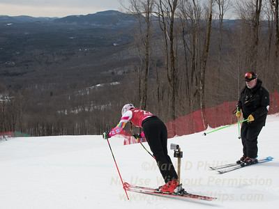 Jessica Garriepy starts a training run down the Super G course on Echo Trail at at the U19/21 Eastern USSA Finals held at Gore Mountain, NY
