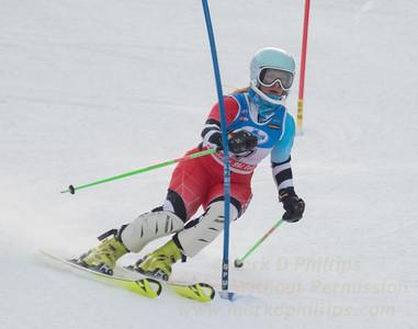 Sophie Carellas at the U21 slalom race at Ski Sundown on January 21, 2018.