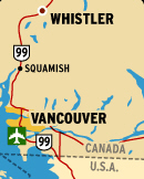 First some logistics:<br />   Fly to Vancouver, BC<br />   Bus to Whistler, about 2.5 hrs<br />   Go through the heart of downtown Vancouver<br />   View along 99 (Sea to Sky highway) is spectacular when it's clear.