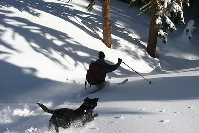 Sadie flying in pursuit of powder
