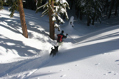 Sadie and Andy on a Andesite ridge powder run