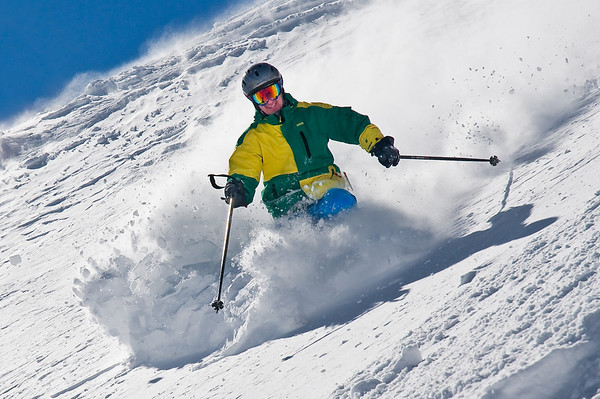 Skier Aaron Meyers Enjoys Fresh Powder at Mammoth<br /> Taken on March 9, 2010 at Mammoth Mountain, California