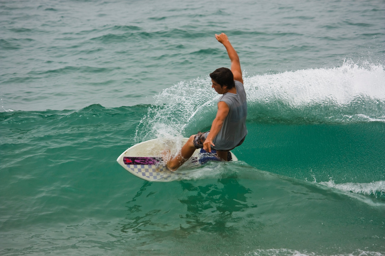 Slicing through the wave.
