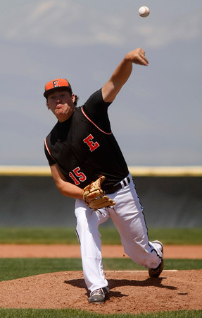 "Erie's Brendan Towon, #15, pitches during the first inning of the game on Saturday, May, 5, 2012, Eire.<br /> Photo by Derek Broussard<br /> For more photos visit  <a href=""http://www.dailycamera.com"">http://www.dailycamera.com</a>"