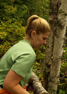 Eva removes another poplar from the trail.