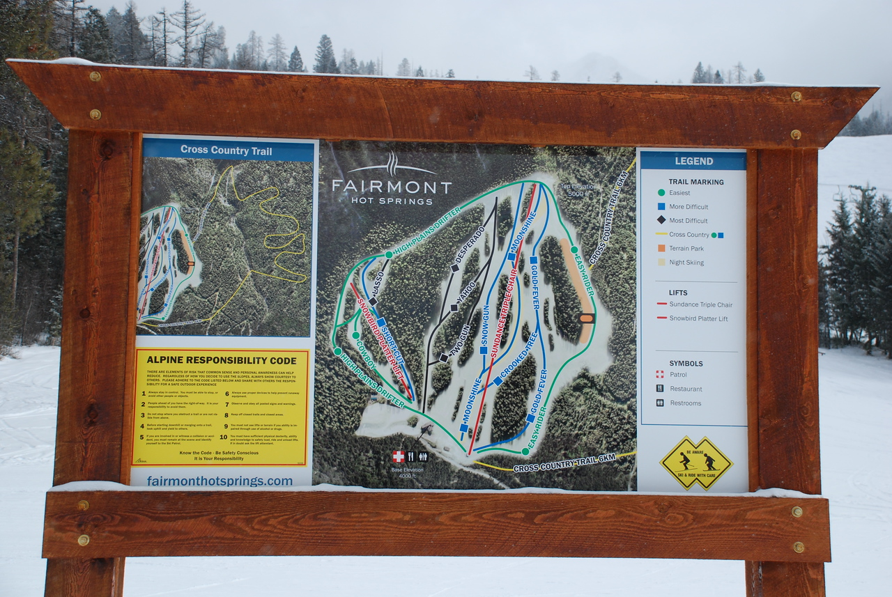 The small ski hill at Fairmont Hot Springs provides great fun for a few hours snowboarding, especially after a fresh overnight snowfall.