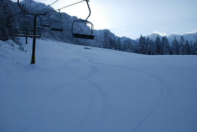 Fresh tracks on a cold March morning at Fairmont Hot Springs.