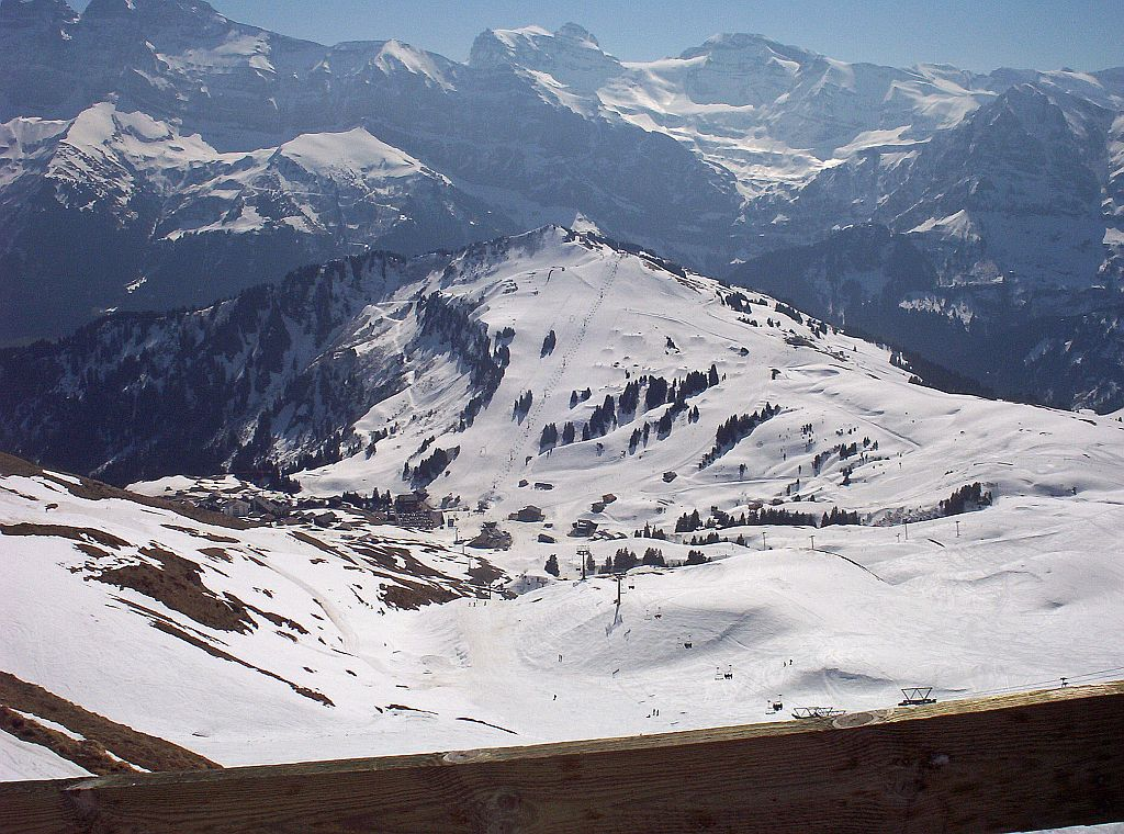 The view down to Les Crosets in Switzerland from the top secteur of Avoriaz.
