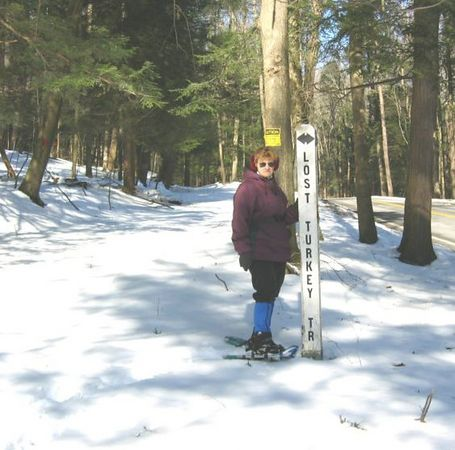 Starting at the Burnt House Picnic Grounds. Mom and Dad head up the Lost Turkey Trail to get some snowshoeing in.
