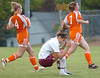 #4 for D-B reacts as her shot on goal narrowly misses. Photo by Ned Jilton II