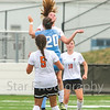 Star Photo/Larry N. Souders<br /> The Lady Cyclones's (21) beat South (20) to a header in the first half of Thursday's match at Elizabethton.