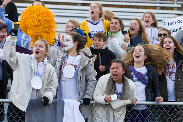 Record-Eagle/Brett A. Sommers Leland's student section cheers a goal by Jesus Calderon-Balcazar during Saturday's Division 4 state championship soccer game at Comstock Park High School. Leland defeated Ann Arbor Greenhills 1-0.