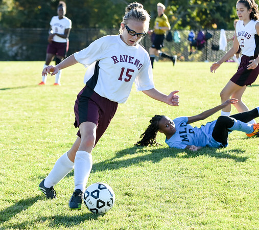 101216  Wesley Bunnell | Staff  Med Ed Prep Girls Soccer hosted MLC on Wednesday afternoon. Mackensie Spencer #15 takes the ball upfield.