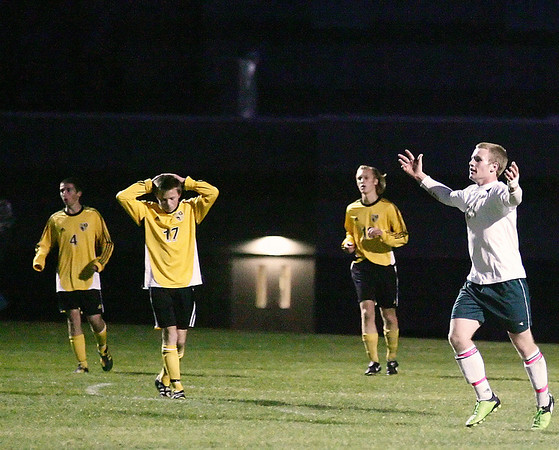 Record-Eagle/Keith King<br /> Traverse City West's Sean McPherson celebrates after scoring a goal against Traverse City Central Tuesday, October 19, 2010 at Traverse City West High School.