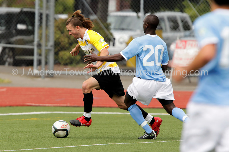"""Match images from the North Sound SeaWolves FC 1 versus Washington Crossfire 2 in Home Opener of 2012 PDL U23 Soccer season. Image Copyright © 2012 J. Andrew Towell for Troutstreaming  outdoor and sports media. All Rights Reserved. Images may be used for personal viewing, but may not be used for any commercial purposes or altered in any form without the express prior written permission of the copyright holder, who can be reached at troutstreaming@gmail.com J. Andrew Towell   <a href=""""http://www.troutstreaming.com"""">http://www.troutstreaming.com</a> ."""