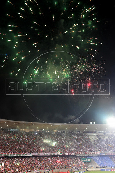Fireworks before the Libertadores Cup final match in the Maracana Stadium of Rio de Janeiro, Brazil, July 2, 2008. Brazil's Fluminense beat Equadors' LDU 3-1 during regular time, but since they lost 4-2 in the first match in Quito, the game went to to extra time, and penalty kicks.  LDU won the shoot-out 3-1.(Australfoto/Douglas Engle)
