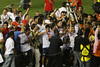LDU players carry the Libertadores Cup trophy after the final match in the Maracana Stadium of Rio de Janeiro, Brazil, July 2, 2008. Brazil's Fluminense beat Equadors' LDU 3-1 during regular time, but since they lost 4-2 in the first match in Quito, the game went to to extra time, and penalty kicks.  LDU won the shoot-out 3-1.(Australfoto/Douglas Engle)