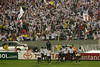 LDU players celebrate their lone goal in front of their fans during the Libertadores Cup final match in the Maracana Stadium of Rio de Janeiro, Brazil, July 2, 2008. Brazil's Fluminense beat Equadors' LDU 3-1 during regular time, but since they lost 4-2 in the first match in Quito, the game went to to extra time, and penalty kicks.  LDU won the shoot-out 3-1.(Australfoto/Douglas Engle)