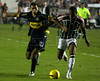 Datole, left of Boca Juniors and Ygor of Fluminense in action during the semi-final match of the Libertadores Cup at the Maracana stadium in Rio de Janeiro, June 4, 2008. Fluminense defeated Boca Juniors, of Argentina, 3-1 and advanced to their first ever Libertadores Cup final. (Australfoto/Douglas Engle)