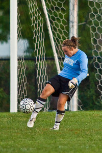 Pickerington North High School's Goalie Allyson Baldwin kicks away a shot on goal during first period of play against the Westerville Central High School girls soccer team at Westerville Central High School Thursday evening September 3, 2009. (Photo by James D. DeCamp 614-462-8027)