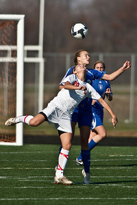 Bexley High Schools #3 Sara Prater against Middletown Bishop Fenwick High School's #24 Mackenzie Hamilton in the OHSAA Girls Division II Regional Final Soccer Tournament held Saturday afternoon November 7, 2009 at the Hilliard Bradley HIgh School. Bexley won 2-0. (Photo by James D. DeCamp 614-462-8027)