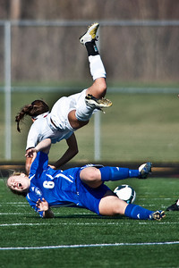 Bexley High Schools #6 Rachael Crane and Middletown Bishop Fenwick High School's #2 Meghan Blank collide in the second period of play in the OHSAA Girls Division II Regional Final Soccer Tournament held Saturday afternoon November 7, 2009 at the Hilliard Bradley HIgh School. Bexley won 2-0. (Photo by James D. DeCamp 614-462-8027)