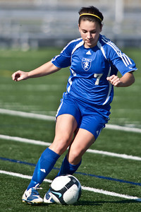 Bexley High Schools #7 Rachael Crane against Middletown Bishop Fenwick High School in the OHSAA Girls Division II Regional Final Soccer Tournament held Saturday afternoon November 7, 2009 at the Hilliard Bradley HIgh School. Bexley won 2-0. (Photo by James D. DeCamp 614-462-8027)