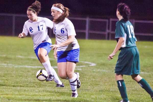 Central Crossing High School's #17 Haleigh Cook and #6 Lena Beckwith make their way down field against Westland High School late in the second period of play at Central Crossing High School Tuesday night October 12, 2010.