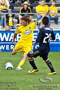 Columbus Crew's Defender Frankie Hejduk (#2) controls the ball in the second period of play at the Columbus Crew Stadium in Columbus, Ohio, Sunday October 24, 2010. The Columbus Crew defeated the Philadelphia Union 3-1 in their MLS regular-season finale.  (© James D. DeCamp / Southcreek Global Media)  | All Rights Reserved  | http://www.southcreekglobal.com | For all sales contact: sales@southcreekglobal.com | 1-800-934-5030