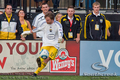 Columbus Crew's Midfielder/Forward Eddie Gaven (#12) takes over as goalie in the second period of play at the Columbus Crew Stadium in Columbus, Ohio, Sunday October 24, 2010. The Columbus Crew defeated the Philadelphia Union 3-1 in their MLS regular-season finale.  (© James D. DeCamp / Southcreek Global Media)  | All Rights Reserved  | http://www.southcreekglobal.com | For all sales contact: sales@southcreekglobal.com | 1-800-934-5030