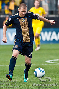 Philadelphia Union's Defender Jordan Harvey (#2) controls the ball in the second period of play at the Columbus Crew Stadium in Columbus, Ohio, Sunday October 24, 2010. The Columbus Crew defeated the Philadelphia Union 3-1 in their MLS regular-season finale.  (© James D. DeCamp / Southcreek Global Media)  | All Rights Reserved  | http://www.southcreekglobal.com | For all sales contact: sales@southcreekglobal.com | 1-800-934-5030