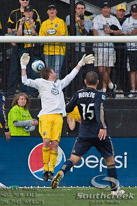 Columbus Crew's Midfielder/Forward Eddie Gaven (#12) who was playing as goalie lets one past him in the second period of play at the Columbus Crew Stadium in Columbus, Ohio, Sunday October 24, 2010. The Columbus Crew defeated the Philadelphia Union 3-1 in their MLS regular-season finale.  (© James D. DeCamp / Southcreek Global Media)  | All Rights Reserved  | http://www.southcreekglobal.com | For all sales contact: sales@southcreekglobal.com | 1-800-934-5030