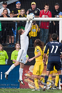 Columbus Crew's Goalkeeper William Hesmer (#1) deflects the ball in the second period of play at the Columbus Crew Stadium in Columbus, Ohio, Sunday October 24, 2010. The Columbus Crew defeated the Philadelphia Union 3-1 in their MLS regular-season finale.  (© James D. DeCamp / Southcreek Global Media)  | All Rights Reserved  | http://www.southcreekglobal.com | For all sales contact: sales@southcreekglobal.com | 1-800-934-5030