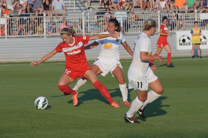 Stpehanie Ochs (22), a Foward is moving the ball away from the WNY Flash team.