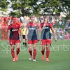 Three of the Washington Spirit's core backline, Ali Krieger, Megan Oyster, and Shelina Zadorsky.