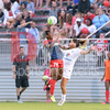 Washington Spirit forward Francesca Ordega goes up for the header.